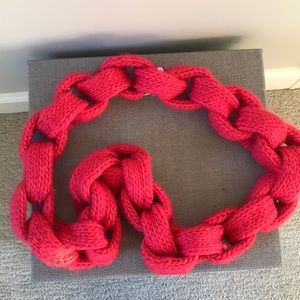 Hot Pink Chain Knit Scarf